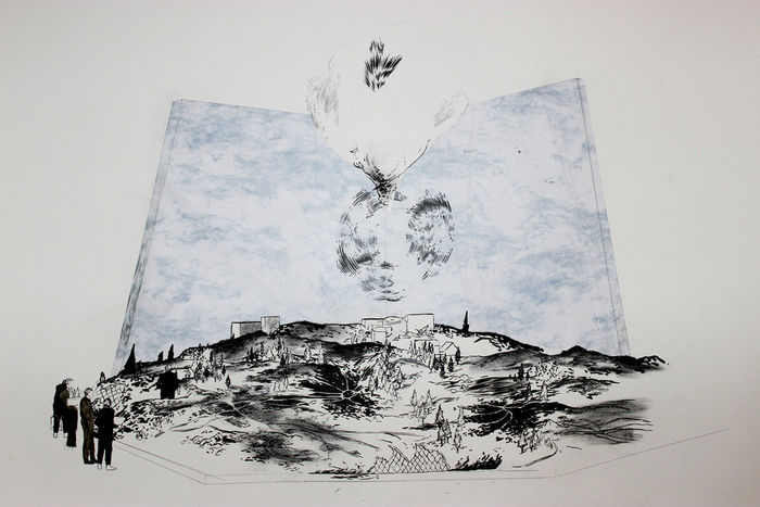 Abdelkader Benchamma Blue Beam C - Model 2013 Ink, charcoal and collage on paper 70 x 100 cm
