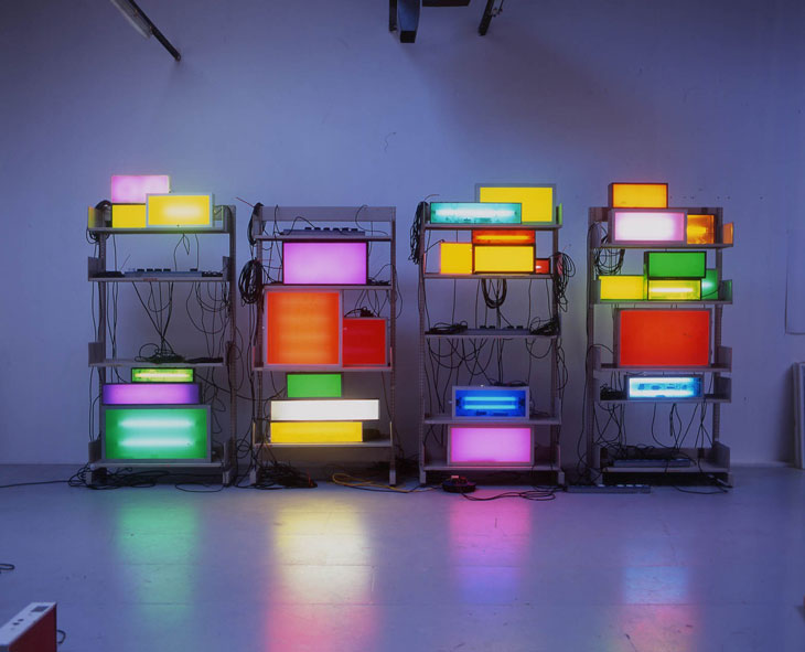 David Batchelor Brick Lane Remix 2003 Shelving Units, found light boxes, fluorescent light, vinyl, acrylic sheet, cable, plugboards Dimensions variable