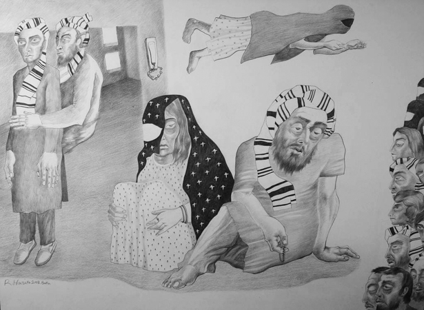 "Reza Hazare, drawings from ""Exile"" series, 2013. Pencil on paper, 60 x 85 cm. Courtesy of Yarat."